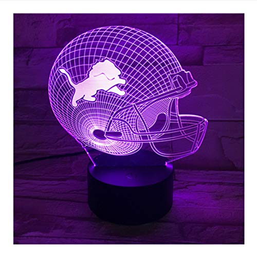 Shuangklei 3D440 NFL Lions Helmet 3D Lamp Amazing Visualization Optical Illusion Acrylic Panel USB Cable 7 Colors Change Touch Base Lamp