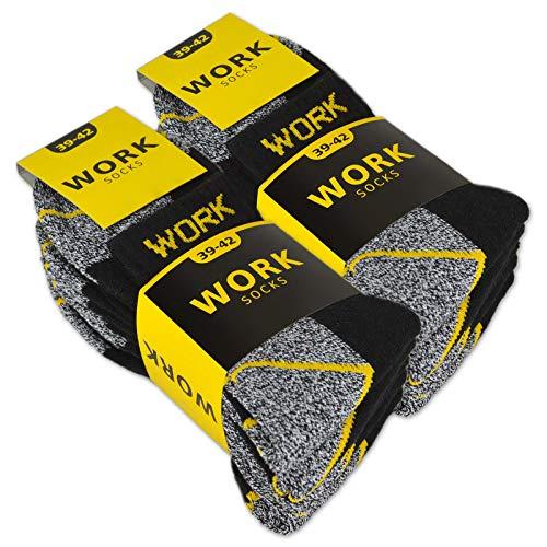 10 Paar Herren Arbeitssocken Kurzsocken Baumwolle WORK Socken (Schwarz/Grau meliert 39-42)