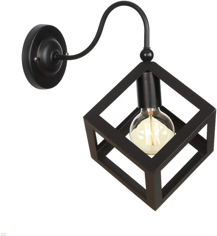Amerikanischen Stil Retro E27 Wandleuchte Nordic Einfache Kreative Eisen Mode Lampen Dekoration Wohnzimmer Cafe Gang Flur Lichter Wandleuchte Leuchte,schwarz