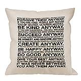 Inspirational Quotes Funda de Almohada, Mother Teresa Anyway Quote Funda de cojín de Lino de algodón Funda de cojín Cuadrada estándar Decorativa para el hogar para Hombres/Mujeres/niños Blanco Neg