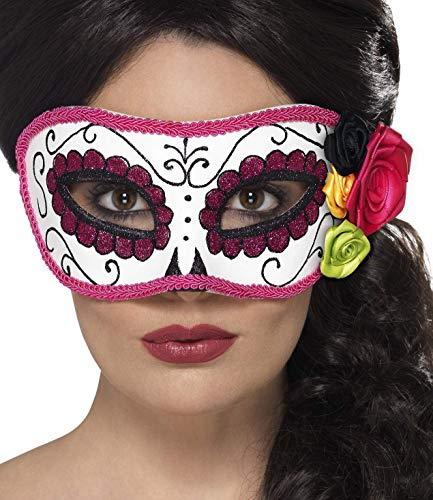 Smiffys Masque pour les yeux Jour des morts, Blanc et rose