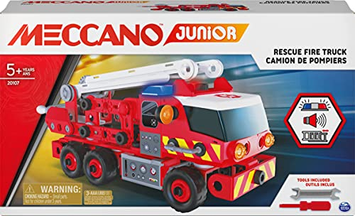 Meccano Junior, Kit di costruzioni Camion dei pompieri con luci e suoni, per bambini dai 5 anni in su