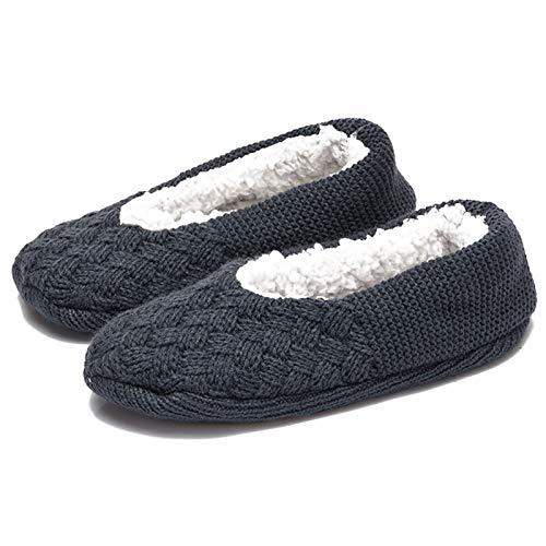 Aibrou Rutschfeste Damen Stoppersocken | Hausschuhe mit ABS Sohle, Pantoffeln Dunkgrau 35-38