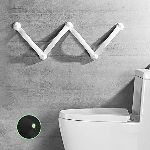 ZRN agarraderas baño Asideros de baño Blancos, pasamanos de Ducha con círculo Luminoso, ángulo Ajustable, manija de baño para Personas Mayores