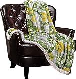 Cloud Dream Home Sherpa Fleece Throw Blanket Spring Summer Lemon Leaves Flower 50x60 inch Fluffy Plush Warm Blanket All Season Cozy Blanket for Baby Kids Adults Wood Plank