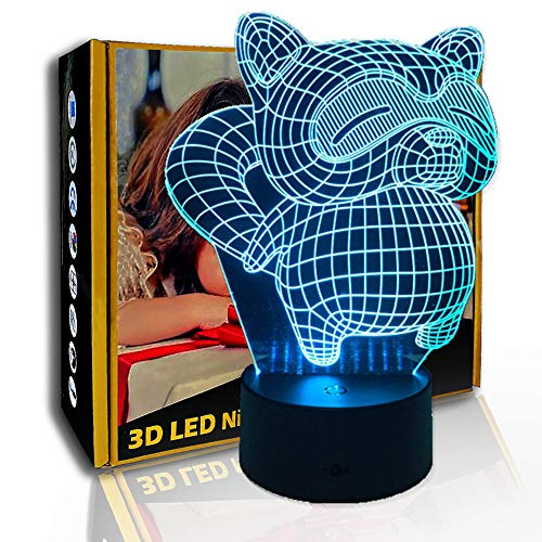 KangYD 3D Nachtlicht Cartoon Fat Civet Cat, LED Illusion Decor Lampe, B - Remote Black Base (7 Farben), Acryl, Geschenk für Mädchen, Schreibtischlampe, Bar Dekor