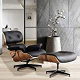 Lounge Chair Indoor Recliner w/Ottoman Full Genuine Leather Classic Mid Century Modern Living Room Bedroom Reading Gaming Comfortable Plywood Swivel Sofa Palisander Wood(Black)