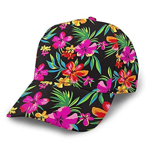 Hawaiian Floral Baseball Hats for Women Men Ponytail Hat Adjustable Baseball Cap Sports Cap for Running and Activities