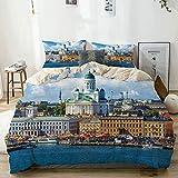 Juego de funda nórdica beige, verano escénico de la plaza del mercado, casco antiguo de Helsinki, horizonte del norte de Finlandia, juego de cama decorativo de 3 piezas con 2 fundas de almohada, fácil