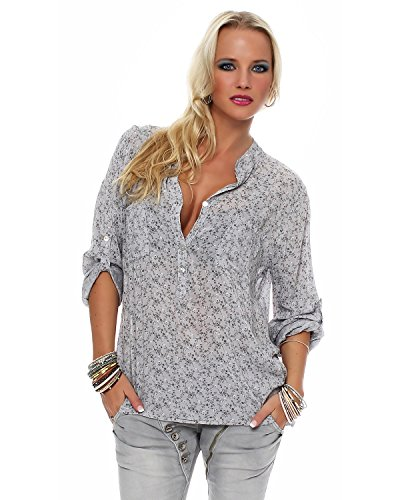 Zarmexx feine Viskosebluse Hemdbluse Fischerhemd Regular fit leichte 3/4-Arm Sommerbluse Tunika zart geblümt grau One Size (38-42)