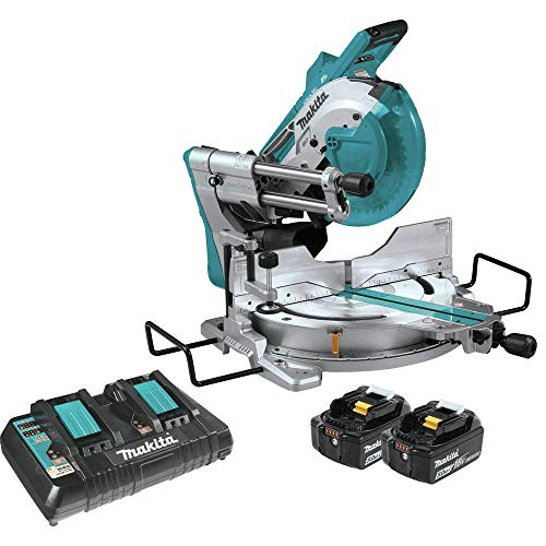 "Makita XSL04PTU 18V x2 LXT Lithium-Ion (36V) Brushless Cordless 10"" Dual-Bevel Sliding Compound Miter Saw Kit, Aws & Laser (5.0Ah)"