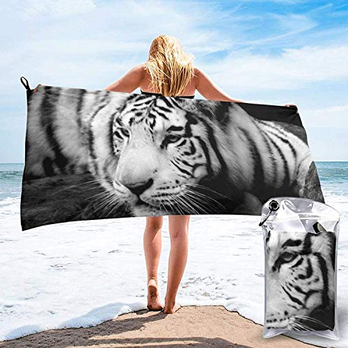 Toalla de baño Animal Tiger, Toalla de Gimnasio, Toalla de Playa, Súper Absorbente, Microfibra Suave de Secado rápido, Ligero-Blanco-27.5 'x55