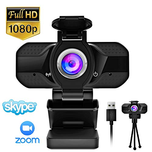 Webcam with Microphone, HD 1080P Webcam for Laptop Desk, Web Cameras for Computers, USB Plug and Play, Computer Camera for Zoom, Skype, Messenger, Facetime
