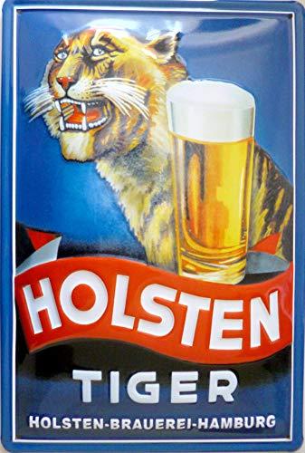 Holsten Tiger Bier Beer geprägt Nostalgie Reklame Blechschild 20x30 Blech 435