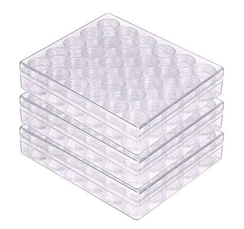 Barattolini Plastica con Coperchio - Set da 3 Contenitori Cosmetici Vuoti Trasparenti - Contenitori per Slime, Perline, Fai da Te, Nail Art, Glitter, Cosmetici e Gioielli (90 Barattoli Plastica)