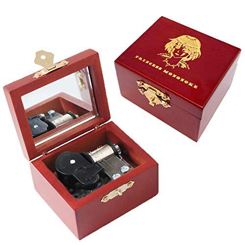 Youtang - Caja de música de madera tallada con mecanismo de viento para Navidad, cumpleaños, día de San Valentín (princesa Mononoke, plata)