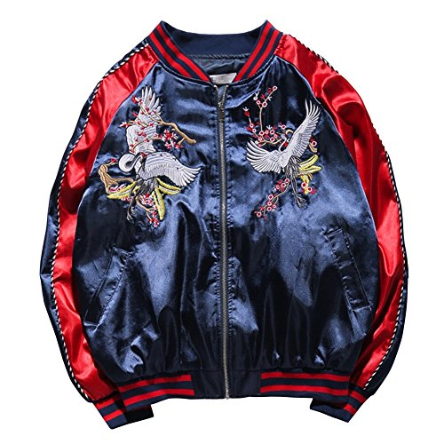 LETSQK Men's MA-1 Air Force Crane Embroidery Lightweight Baseball Bomber Jacket Red XL