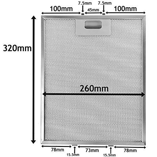 SPARES2GO Metalen gaasfilter voor Baumatic afzuigkap/afzuigkap Ventilator (320 x 260mm)