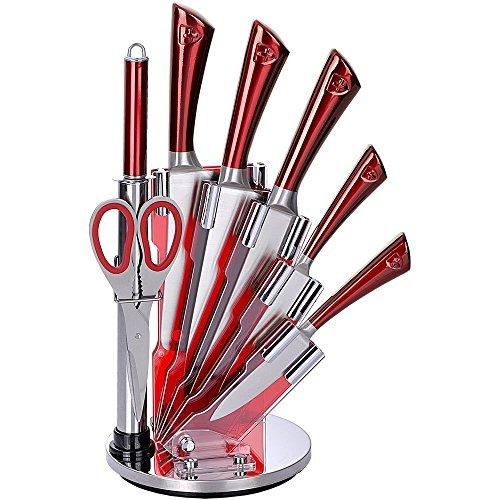 Royalty Line KSS804 - Juego de 5 cuchillos de acero inoxidable con soporte acrílico afilador y tijera