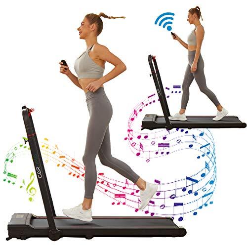 CAROMA Cinta de correr eléctrica 2 en 1, plegable, 12 km/h, ahorra espacio, 1500 W, para casa, 110 kg, altavoz Bluetooth, mando a distancia y control de la aplicación (negro)