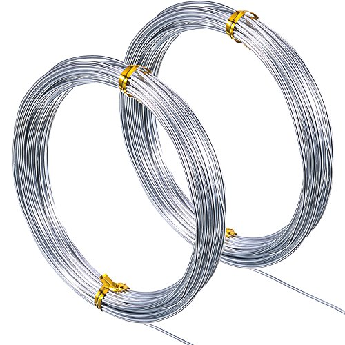 DIY Manual Arts and Crafts 0.8mm 1mm 1.5mm Thickness MotBach 197 Feet 3 Size Silver Soft Flexible Aluminum Craft Wire Bendable Silver Metal Art Wire for Making Dolls