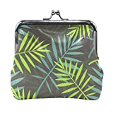 BGHYT Tropical Leaves of Palm Tree Monedero sin Costura Retro Money Pouch con Cerradura Hebilla Monedero Bolso Titular de la Tarjeta para Mujeres y niñas
