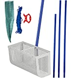 VEVOR Sand Rake, 165 inches Pole Beach Rake, Blue Lake Weed Rakes, 16' Aquatic Weeds Muck Sand Flea Rakes, Weed Cleaning Tool for Beach Lake Pond River Landscaping with Detachable Pole Rope Net