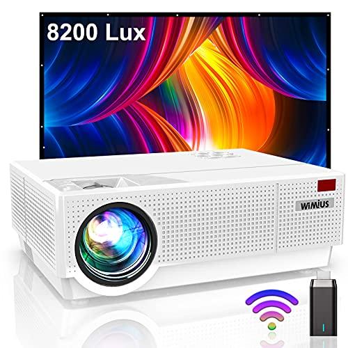 WiMiUS Vidéoprojecteur 8200 Lumens, Vidéoprojecteur Full HD 1080P Rétroprojecteur 4K Soutien, Correction Digitale 4D Affichage 300'' Projecteur LED 100,000 Heures Home Cinéma PC,PS4 HDMI VGA AV USB