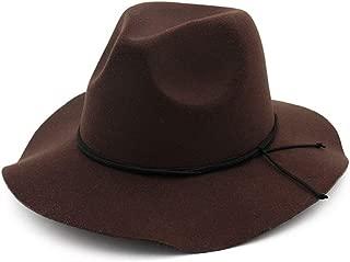 Size 56-58CM Men's Women's Fedora Hat with Wide Brim Jazz Cap Fascinator Hat (Color : Drak Coffee, Size : 56-58)