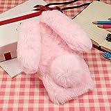 KeKeYM Sony XA1 Hülle Kaninchen, Netter Hülle für Xperia Z6, Plüsch Bunny Ears Hülle Handgemachtes Spielzeug Furry Kaninchen Häschen Weiche Hülle Dünne für Sony Xperia XA1 - Rosa