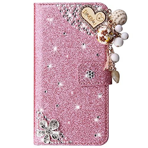 Blllue Funda tipo cartera compatible con Samsung Note 10 lite, Glitter Bling I Love You Pu Funda de piel con tapa para Samsung Note 10 lite - Rosa