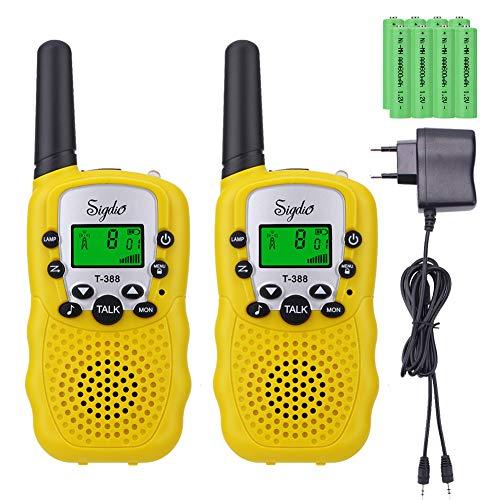 Talkie Walkie pour Enfants PMR 446 avec 8 Piles rechargeable et Chargeur Talkie Walkie Enfants...