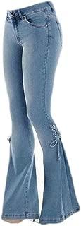 Women's Classic High Waist Bow Flare Denim Jeans Bell Bottoms Wide Leg Pants