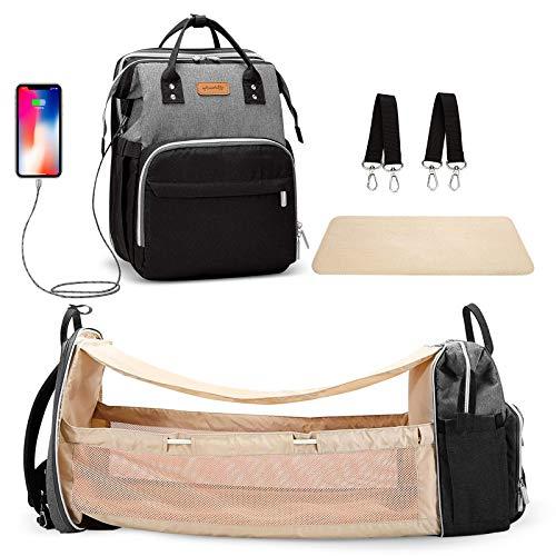 Bolsa de pañales 3 en 1 con cambiador y puerto de carga USB, gran capacidad, multifunción, bolsa de viaje impermeable para mamá y papá (gris-negro)