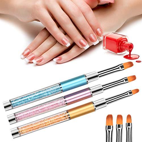 Pincel de uñas de gel para uñas de gel UV y acrílico [1#], juego de 3 pinceles para arte de uñas de gel UV, acrílico, pincel de gel