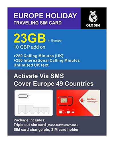 OLOSim Europe Travel Sim Card 30 Days Prepaid 23GB Data and International Calling Minutes Included Sim Change Pin and Holder
