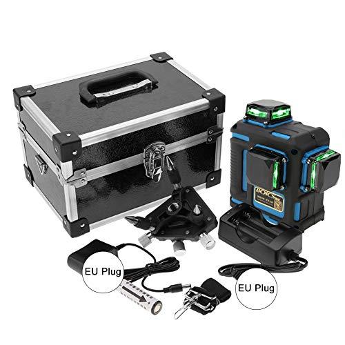 Livella Laser, Akozon 12- Linea Livello Laser Level Autolivellante Professionale Copertura a 3 * 360 Gradi Beam Verde Linee Orizzontali Verticali e Trasversali Laser(Blu)