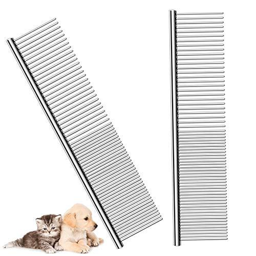Haoyunyinga - Peine de acero inoxidable para mascotas, 2 unidades, peine de acero con dientes redondeados, resistente al agua, no se oxida, peine para perros y gatos, caballos y más (19 x 4 cm)