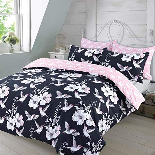 Dreamscene Humming Birds Duvet Cover with Pillowcases, Double, Navy Blue Blush Pink