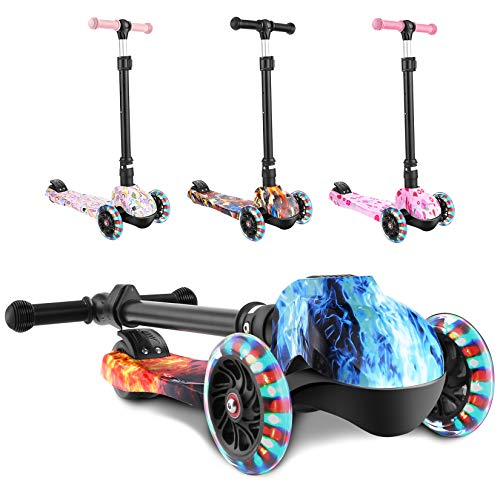 WeSkate Scooters for Kids, Foldable Scooter for Girls Boys, LED Lights Up Wheels Scooter Adjustable Height, Good Gifts for Children Boys Girls 3 to 12 Years Old