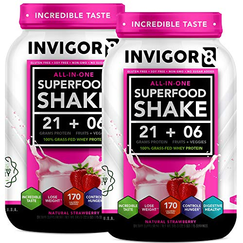 INVIGOR8 Superfood Shake Gluten-Free and Non GMO Meal Replacement Grass-Fed Whey Protein Shake with Probiotics and Omega 3 (2-Pck Strawberry (Save 15))