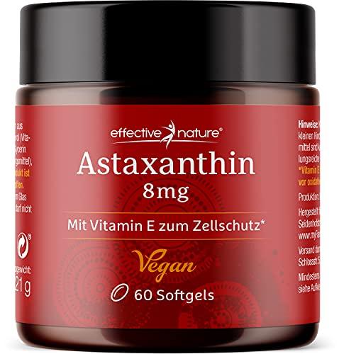 effective nature - Vegane Astaxanthin - 60 Kapseln - Entwickelt und Produziert in Island - Hochdosiert mit 8 mg Astaxanthin pro Tagesdosis
