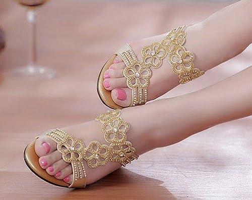 SCLOTHS Tongs Femme Chaussures L'été Talons Moyens Pente Ouvert Toe Artificiel Diamond