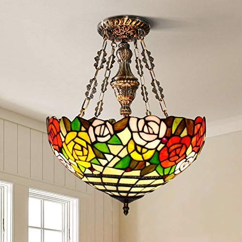 Tiffany Style Pendant Lamp Red Rose Stained Glass Ceiling Pendant Fixture Restaurant Bar Dining Room Cafe,B,40CM