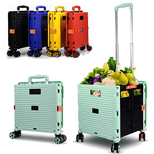 Carro plegable para botas, supermercado, carrito de compras, caja de almacenamiento plegable con ruedas, camión portátil, rueda giratoria de 360 °, resistente al desgaste y silencioso 45 kg