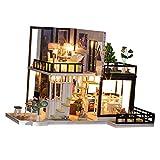 F Fityle 1/20 Muebles de Casa de Muñecas en Miniatura con Luz LED de Madera DIY House 3D Puzzle Kit