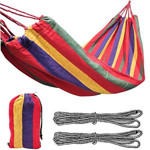 Hamaca de Tela de algodón para Exteriores 190x100cm, con Capacidad de Carga de hasta 300 kg, con Bolsa de Transporte, se Puede Utilizar en el jardín del Patio