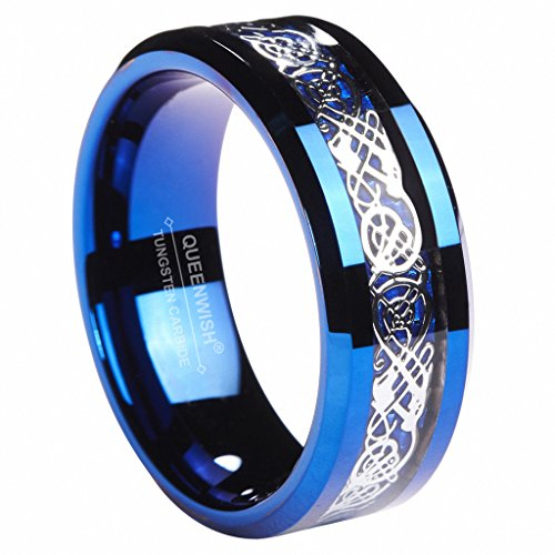 8MM Blue Tungsten Carbide Ring Celtic Dragon Blue Carbon Fibre Inlay Mens Wedding Band Size 9