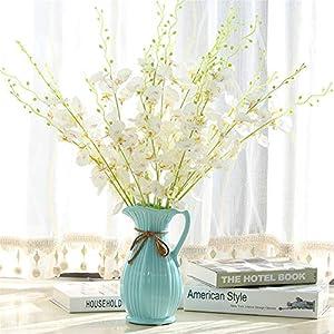 Silk Flower Arrangements RRSHUN 6 Pcs Artificial Flowers Babys Breath Orchid Flower - Real Touch Fake Flower PU Plants for Wedding Bouquets & DIY Party Home Garden Decor