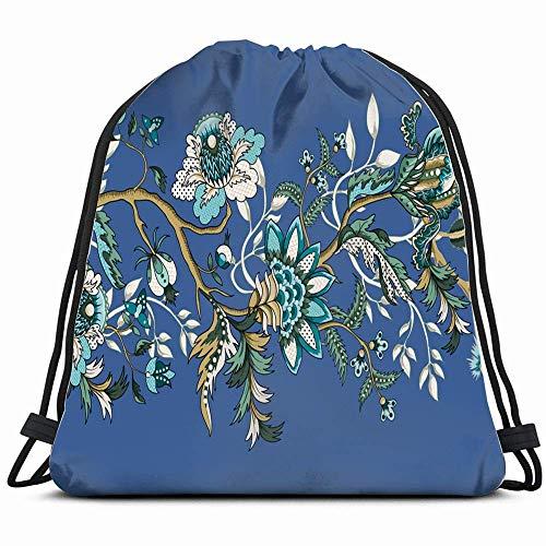 Japanse ornamenten, etnische grenzen, rugzak met koord van natuur, populaire sporttas voor vrouwen mannen en kinderen, grote maat met ritssluiting en netvakken voor waterflessen, 14 x 17 inch
